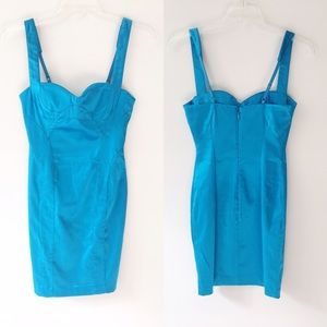 Bebe Blue Fitted Dress